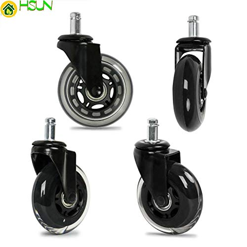 Fevas 2.5/3 Inch PU Furniture Casters 360 Degree Swivel Mute for Office Computer Chair Adjustable Rolling Double Bearing Cart Wheel - (Size: 2.5 Inch, Color: 5pcs)