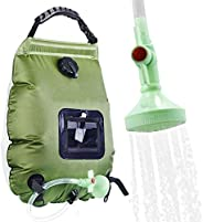 CLICIC Solar Shower Bag 5 gallons/20L Solar Heating Shower Bag with Removable Hose and On-Off Switchable Showe