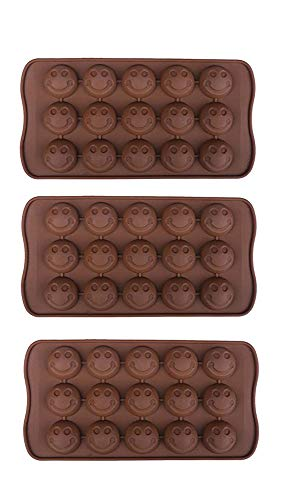 3 Pack X Smiley Face Emoji Ice Cube Chocolate Soap Tray Mold Silicone Party maker (Ships From USA) -