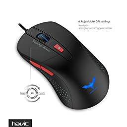 Havit 2800 DPI 6 LED Lights Optical Wired Gaming Mouse, Black (HV-MS745)