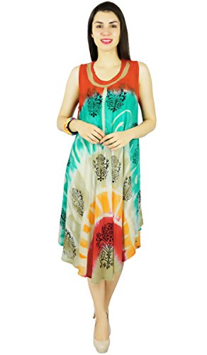 Sundress Red Beach Casual Tie Green and Women Dress Summer Teal Rayon Printed Tunic Dyed Viscose 1wpg1q