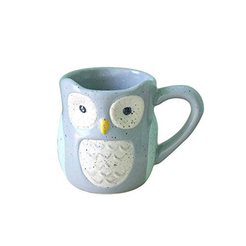 FLYING BALLOON Cute Blue Owl Shaped Ceramic Cup Tea Cup Coffee Mug for Home Office Teaparty Christmas Gift for Kids, 6.8 ounces