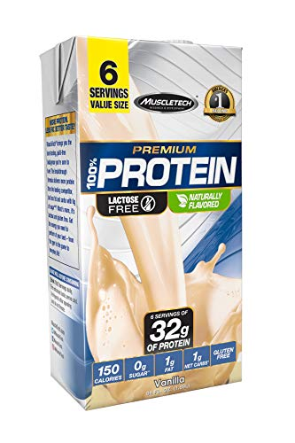 MuscleTech High Protein Shake, 32g Protein, Ready to Drink, Lactose Free Protein, No Sugar, Low Carbs, Vanilla, 6 Servings (1.89L)