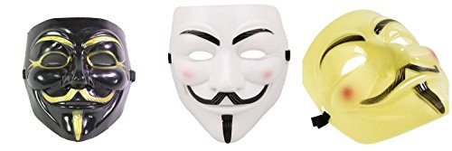White, Black & Yellow V For Vendetta Guy Fawkes Anonymous Costume Halloween Masks