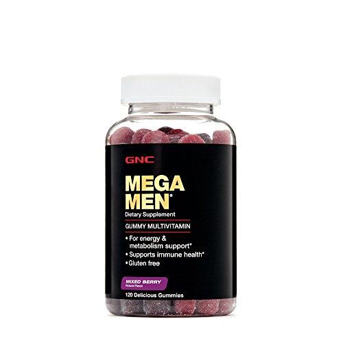 GNC Mega Men Gummy Multivitamin for Energy, Metabolism Immune Support, Mixed Berry – 120 Count