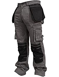 Mens Cargo Trousers Working Pants Cordura Knee Pockets