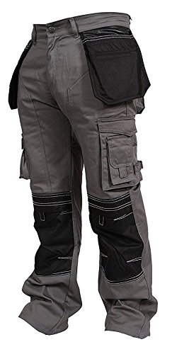 Newfacelook Mens Cargo Trousers Working Pants Cordura Knee ()