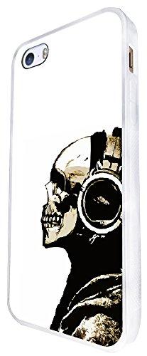 1545 - Cool Fun Trendy DJ Headphones Hoody Scary Skull Tattoo Biker Sugar Skull Design iphone SE - 2016 Coque Fashion Trend Case Coque Protection Cover plastique et métal - Blanc