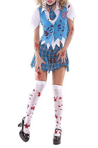 YNChiffonier Fashion Sexy Women's Zombie School Girl Specter Adult Roleplay Costume, Medium, Blue/Plaid as pictureMedium