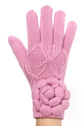 LL Womens Oversize Flower Gloves Pink Winter Garden Fleece Lined
