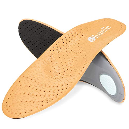 BLUZELLE Genuine Leather Insoles with Arch Support, Breathable Comfort Shoe Insert for Relief + Strengthening, Size:9.5-10 US Women / 8.5-9 US Men