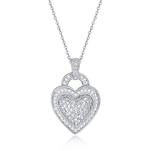 (Hafeez Center Rhodium Plated Sterling Silver Heart Pendant Necklace (P005))