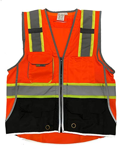 3C Products SV3800, ANSI/ISEA Class 2 Surveyor Safety Vest w/Yellow binding, Zipper, iPad Pocket, Neon Orange w/Black Bottom,3XL