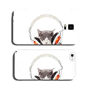 Cute kitten and headphones. Young cat is listening to music wit cell phone cover case iPhone6