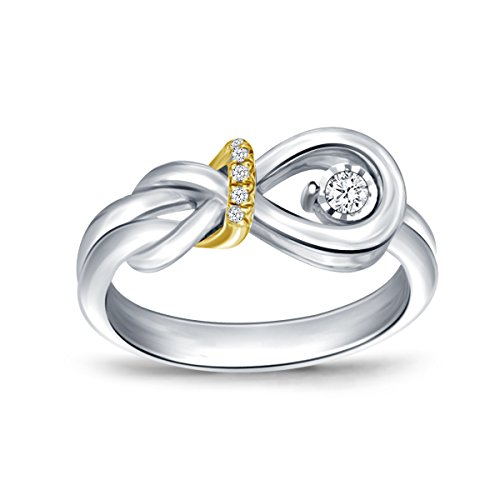 1/16 Cttw Sterling Silver and 10kt Yellow Gold Diamond Accent Two-Tone Love Knot Promise Ring (IJ/I2-I3)