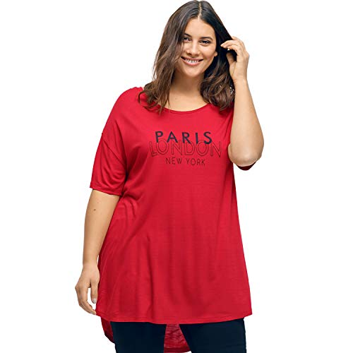 (Ellos Women's Plus Size Screen Print Hi-Low Tunic - Poppy Red, 10/12)