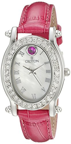 CROTON Women's CN207537ROMP Balliamo July Birthstone Analog Display Quartz Pink Watch Croton Womens Quartz Stone