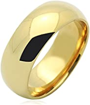 Solid 14K Gold Wedding Ring 7mm Wide Comfort Fit High Polished Plain Wedding Band (Size 5 to 12)