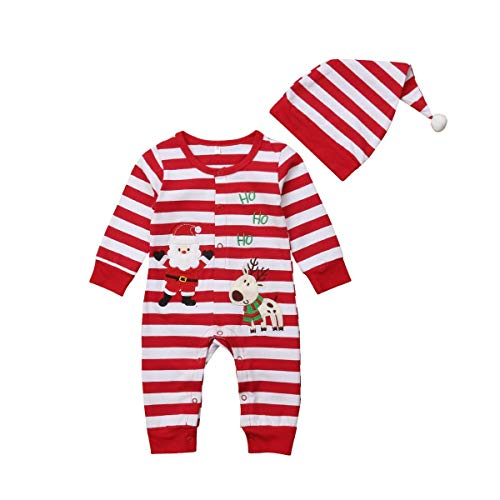 MILWAY Newborn Infant Baby Girls Boys Christmas Romper Santa Claus Elk Striped Bodysuit + Hat Outfit (70/0-6months, red) -