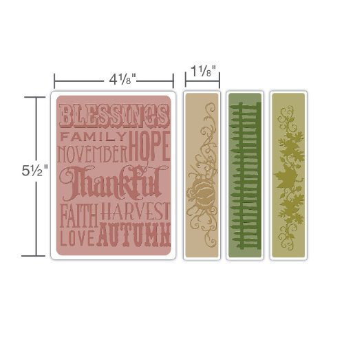 Sizzix Texture Fades Embossing Folders 4PK - Thankful Background & Borders Set by Tim Holtz
