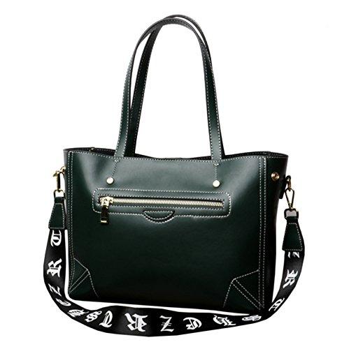 hombro Mujer SAIERLONG Verde Piel Negro y Genuina Shoppers bolsos Nueva de qCCOpxA