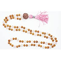 Mala Beads Healing Rose Quartz Beads Rudraksha Mala Unconditional Love Heart Chakra Necklace