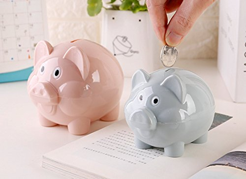 Plastic House Bank - Cute Cartoon Pig Piggy Bank plastic Money Saving Box Creative gift for Kids Children