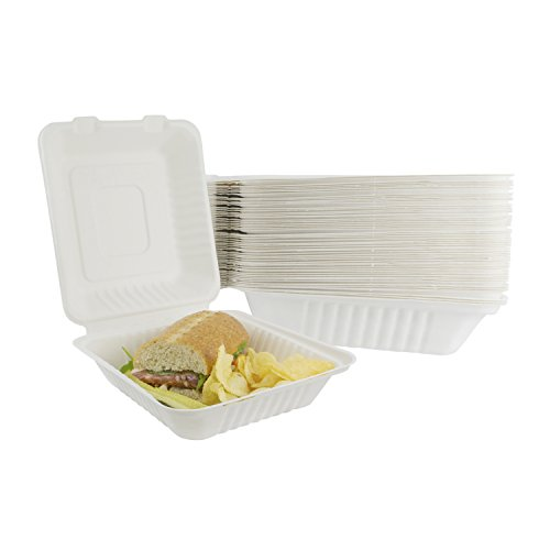 Houseables Takeout Containers, To Go Box, Restaurant Take Out Food Container, 100 Pack, White, 8x8 Inch, 100% Disposable, Clamshell, Biodegradable Boxes, Microwavable Supplies, Eco Friendly