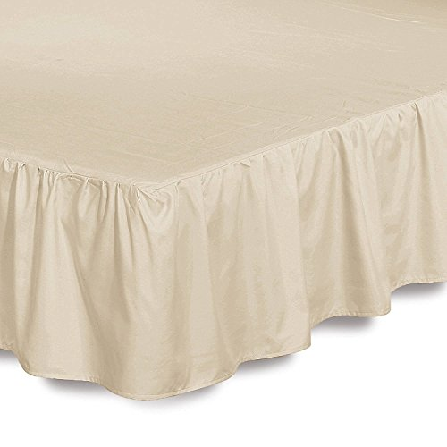 Bed Ruffle Skirt (Queen, Beige) Brushed Microfiber Bed Wrap with Platform - Easy Fit Gathered Style 3 Sided Coverage by Utopia Bedding (Skirt Beige Bed)
