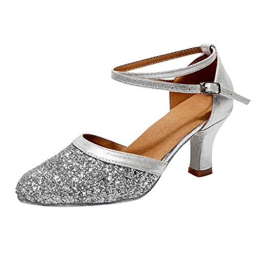 (Sanyyanlsy Women Fashion Lady Latin Dance Sequined Sandals Soft Bottom Waltz Dance Shoes Buckle Pump Stilettos Shoes Silver)