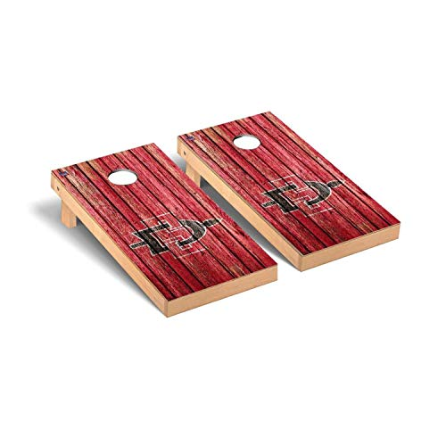 Victory Tailgate Regulation Collegiate NCAA Weathered Series Cornhole Board Set - 2 Boards, 8 Bags - San Diego State University SDSU Aztecs