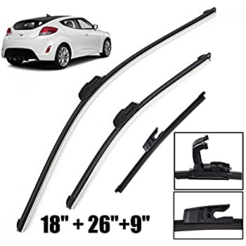 Xukey Front + Rear Windshield Wiper Blades Set Fit For Hyundai Veloster MK1 2012-2017 (Set of 3)