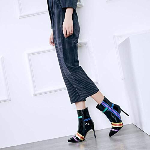 a tacco con Stivali con donna GLTER strisce punta da Nuovi a multicolore Nero cerniera stivali xBn4WWp