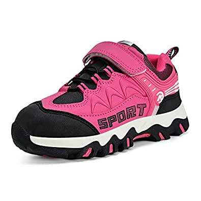 MARSVOVO Girls Boys Sneakers Waterproof Boys Running Hiking Shoes Pink Size: 1 M US Little Kid