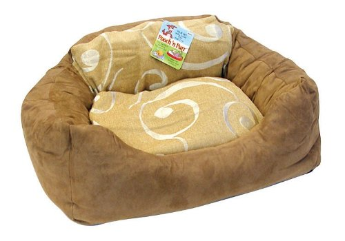 Large Micro Suede Beige Design Cat or Dog Pet Bed/Couch 513963BR, My Pet Supplies