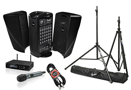Fender Passport Event Portable PA System Bundle with Sennheiser XSW 2-835 Wireless Vocal Microphone System and Accessories (4 (Fender Wireless Microphone)