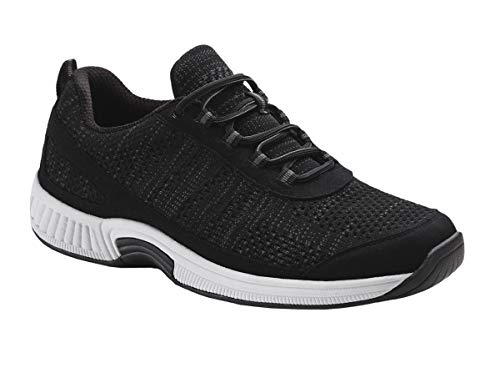Orthofeet Plantar Fasciitis Relief Comfort Orthopedic Arthritis Diabetic Sneakers Walking Athletic Mens Shoes Lava Black