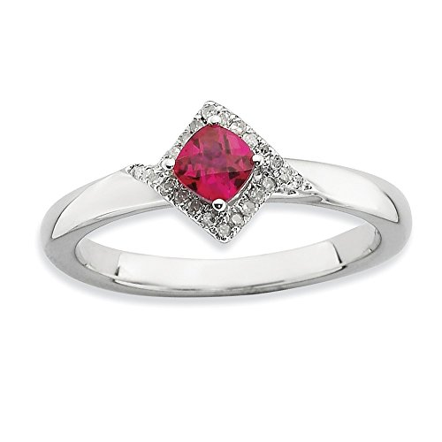 Top 10 Jewelry Gift Sterling Silver Stackable Expressions Polished Cr. Ruby & Dia Ring by Jewelry Brothers Rings
