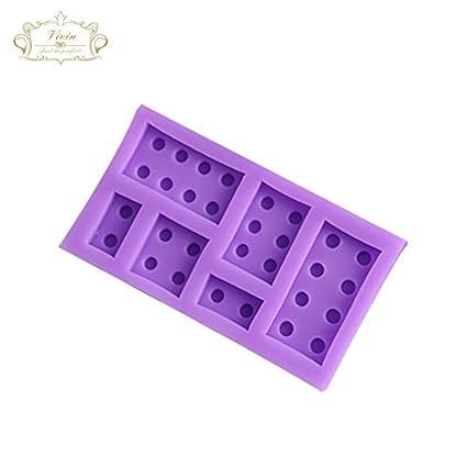 Molde de silicona con forma de bloques de construcción de LEGO de color blanco para decoración