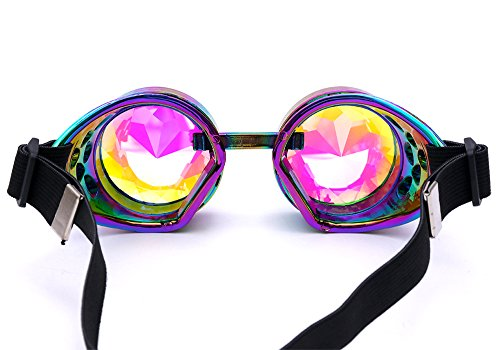 b2d62ce8a1bc Kaleidoscope Rave Goggles Steampunk Glasses with Rainbow Crystal Glass Lens  Colorful