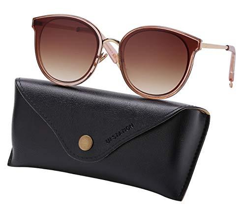U.I STATION Oversized Mirrored Sunglasses for Women, Cat Eye Sunglasses, Oversize Sunglasses for Women with Sunglasses Case U117 ()