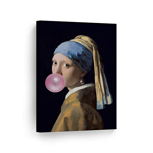 Johannes Vermeer's Masterpiece Girl with a Pearl Earring Pink Bubble Gum Art Canvas Print Famous Painting Wall Art Classic Art Home Decor Stretched Ready to Hang -%100 Made in The USA - 12x8 ()