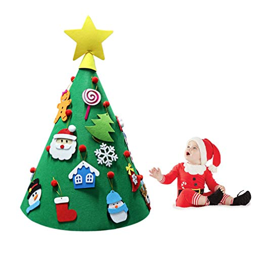 WAOBE DIY Felt Toddler Christmas Tree, 27.5 Inch Year Kids Gifts Toys Artificial Tree Xmas Home Decoration Hanging Ornaments