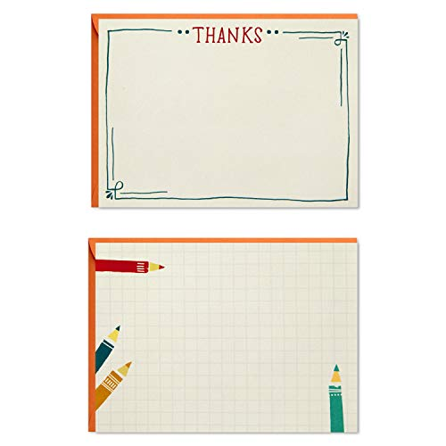 Hallmark Blank and Thank You Cards Assortment, Colored Pencils (50 Flat Paneled Note Cards with Envelopes), Blue and Brights