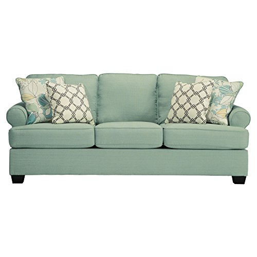 Ashley Furniture Signature Design – Daystar Sofa with 4 Accent Pillows – Contemporary – Seafoam