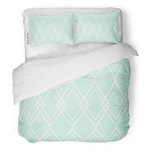 Semtomn Decor Duvet Cover Set King Size Blue Diamond Pattern Mint Green and White Abstract Argyle 3 Piece Brushed Microfiber Fabric Print Bedding Set Cover