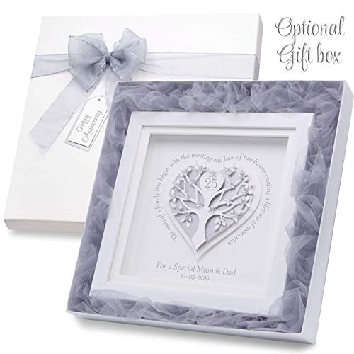 Personalised 25th Wedding Anniversary Gift Silver Wedding