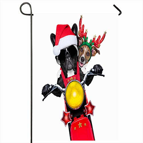 Ahawoso Seasonal Garden Flag 12x18 Inches Happy Santa Two Christmas Dogs On Motorbike Riding Hat Holidays Year Funny Rock December Design Home Decorative Outdoor Double Sided House Yard Sign (Motorbike Santa On)