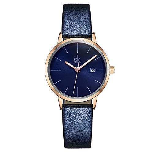 Women Watches Leather Band Luxury Quartz Watches Girls Ladies Wristwatch Relogio Feminino Mother Daughter Gift (9715 Blue)