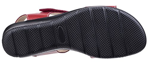 Leather Fleet Size UK Foster Wedge 3 Sapphire amp; Red Womens Sandals Red 44q6I1